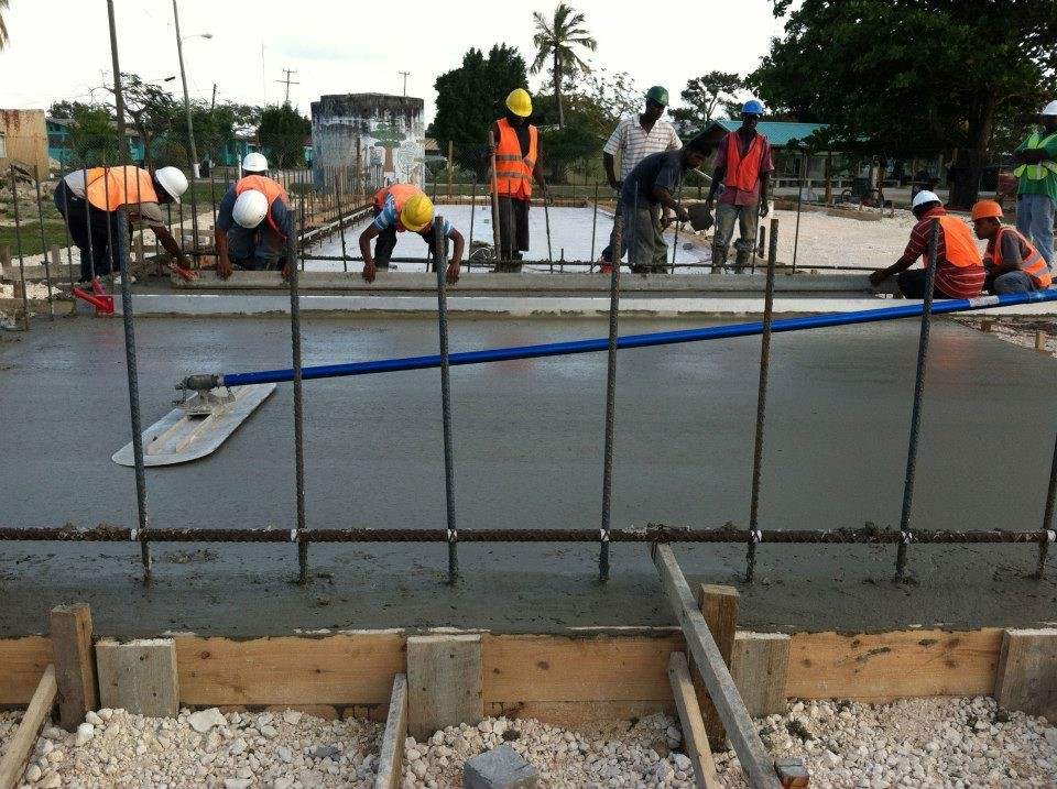Laying a concrete house foundation